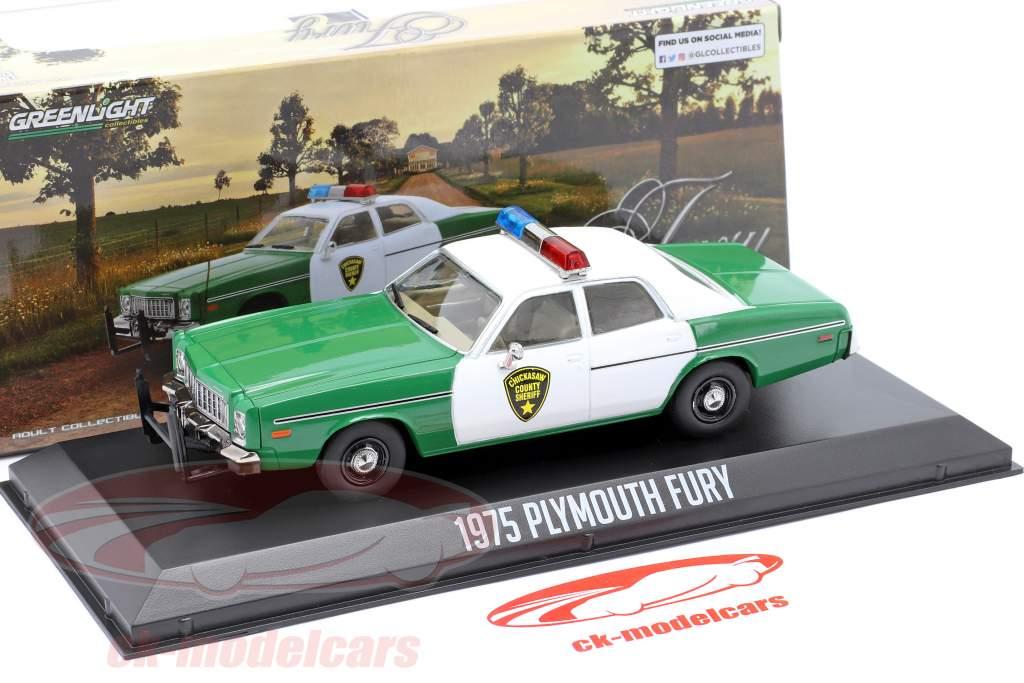 Plymouth Fury Chickasaw Sheriff Año de construcción 1975 verde / Blanco 1:43 Greenlight