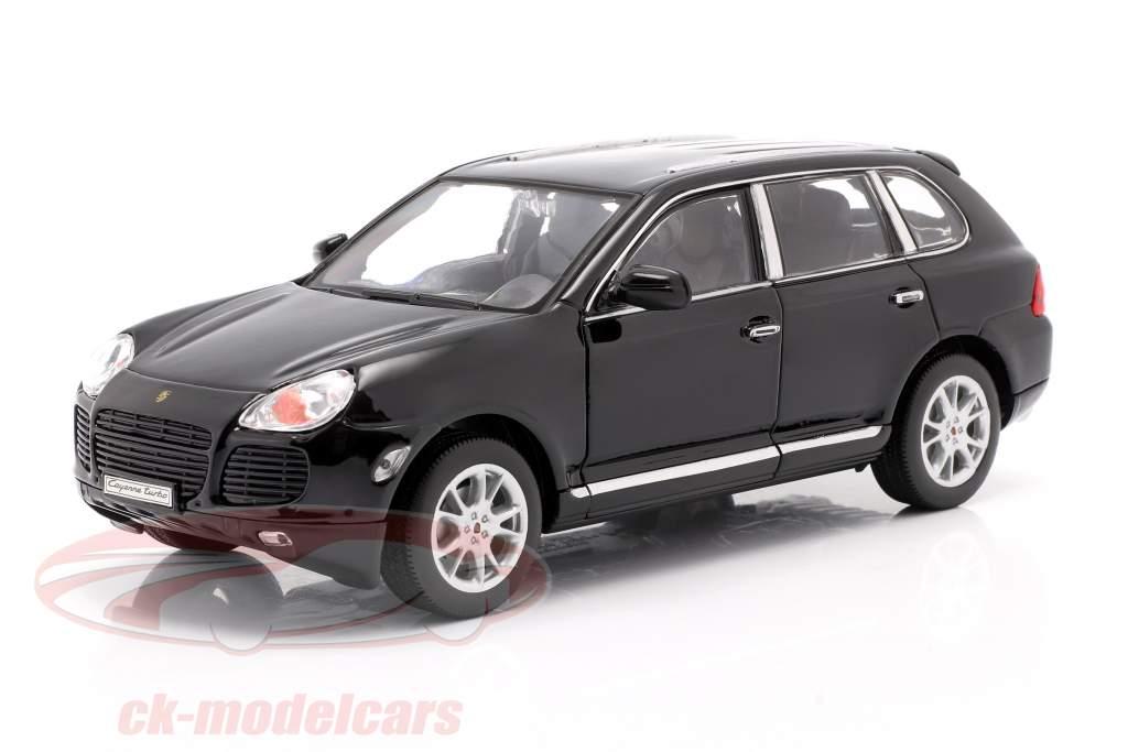 Porsche Cayenne Turbo year 2002 black 1:24 Welly