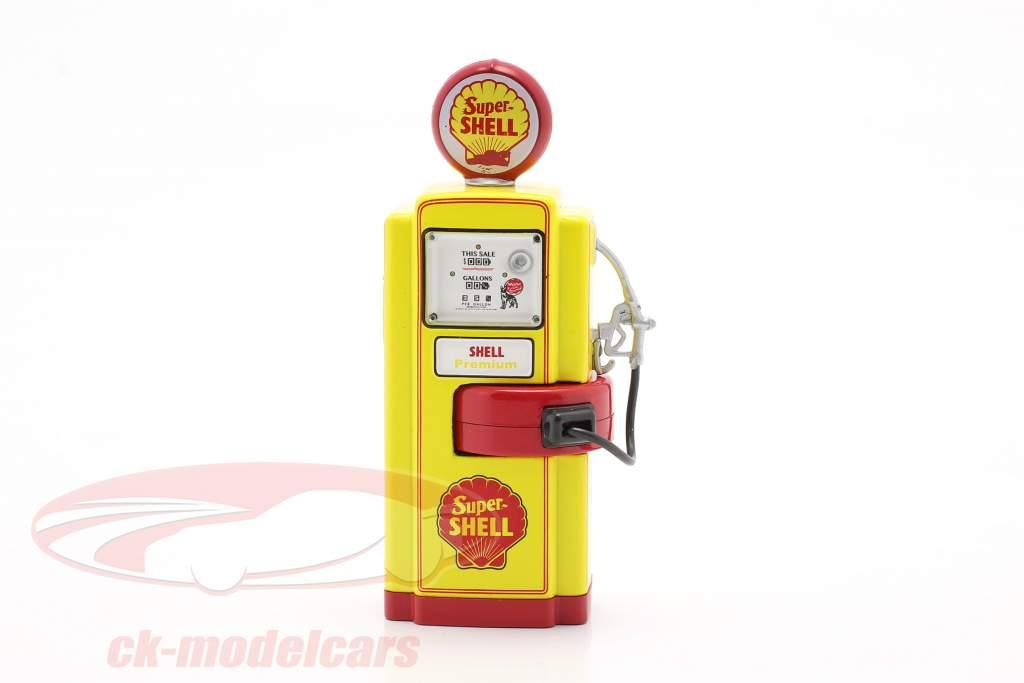 Wayne 100-A Super Shell Gas Pump Byggeår 1948 gul / rød 1:18 Greenlight
