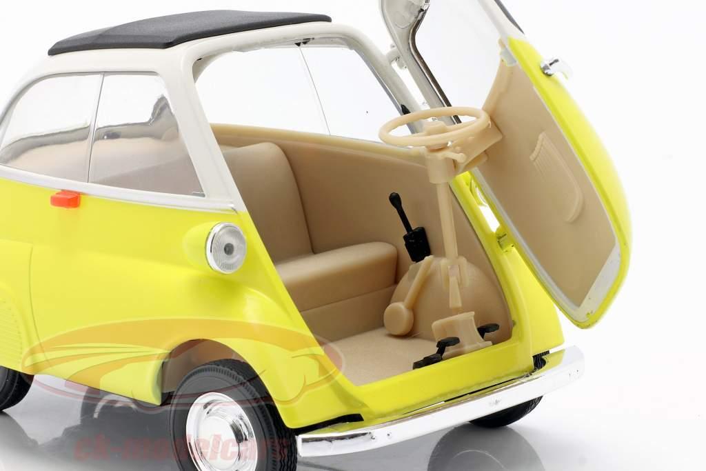 BMW Isetta 250 jaar 1959 geel / wit 1:18 Welly