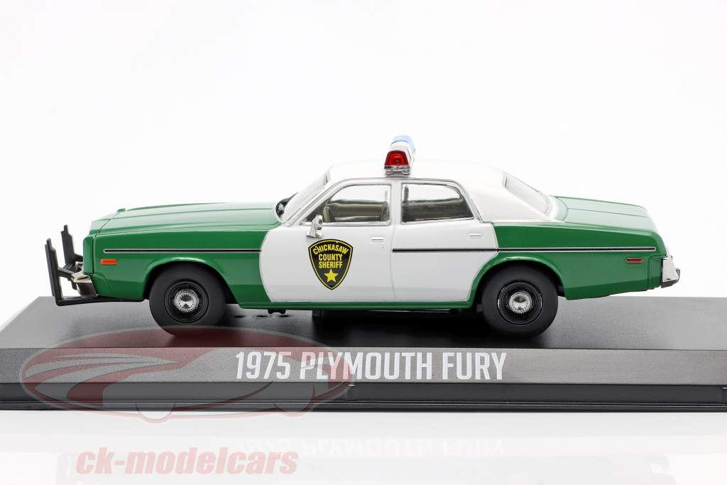 Plymouth Fury Chickasaw Sheriff Année de construction 1975 vert / blanc 1:43 Greenlight