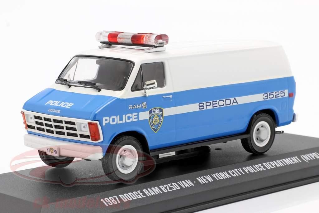 Dodge RAM B250 Van NYPD Baujahr 1987 blau / weiß 1:43 Greenlight