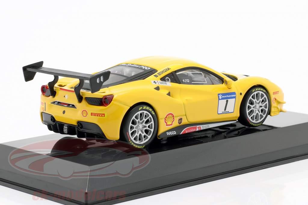 Ferrari 488 Challenge #1 amarelo 1:43 Bburago