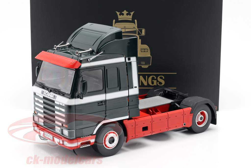 Scania 143 Streamline Lastbil 1995 mørkegrøn / rød / hvid 1:18 Road Kings