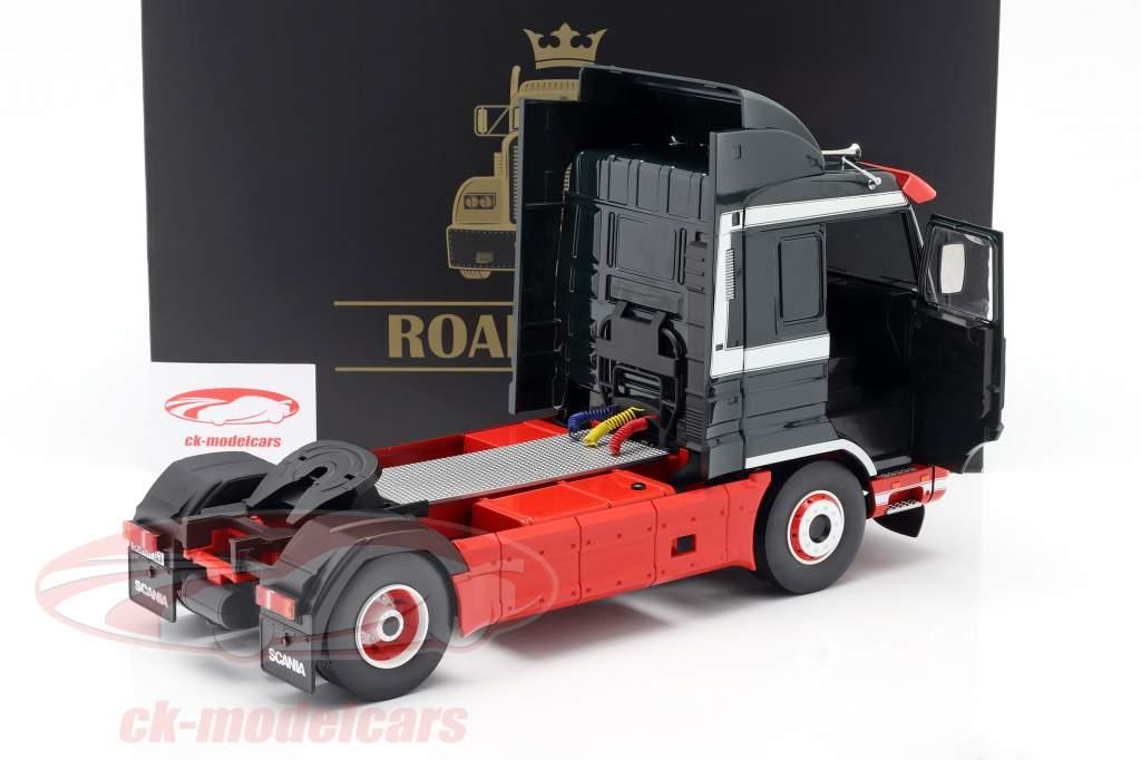 Scania 143 Streamline Vrachtwagen 1995 donkergroen / rood / Wit 1:18 Road Kings