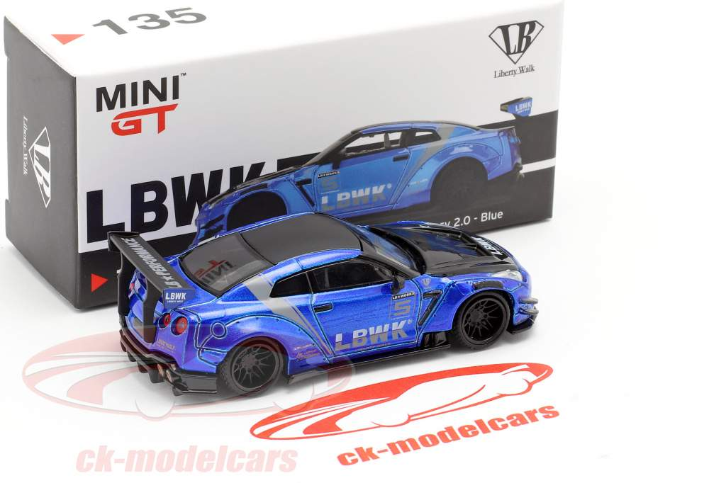 LB-Works Nissan GT-R (R35) Type 2 LHD LB Work Livery 2.0 blå 1:64 TrueScale