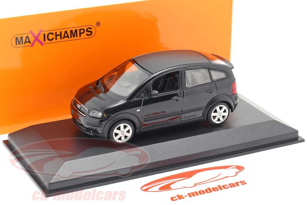 Audi A2 (8Z) Anno di costruzione 2000 nero metallico 1:43 Minichamps