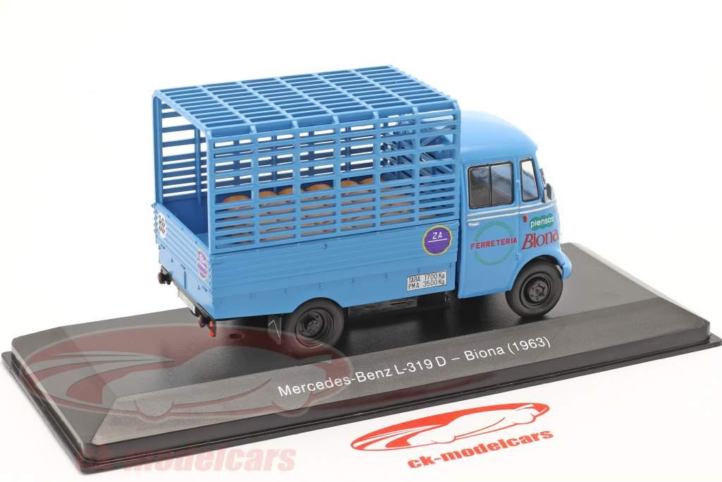 Mercedes-Benz L-319D Transporter Biona Baujahr 1963 blau 1:43 Altaya