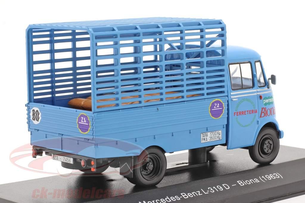 Mercedes-Benz L-319D Camión Biona Año de construcción 1963 azul 1:43 Altaya
