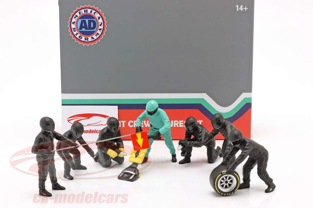 formel 1 Grube mandskab tegn Set #1 hold sort 1:18 American Diorama
