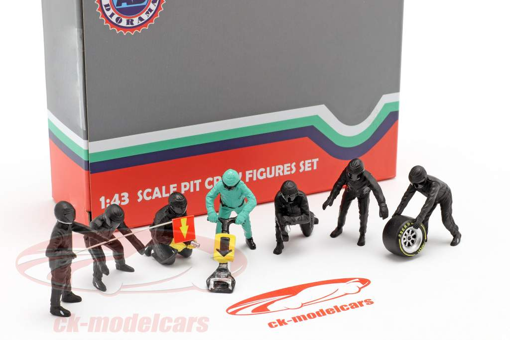 fórmula 1 Pozo tripulación caracteres Set #1 equipo negro 1:43 American Diorama