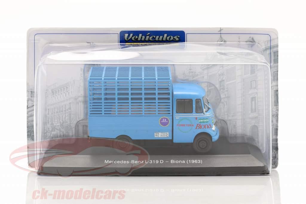 Mercedes-Benz L-319D Vrachtwagen Biona Bouwjaar 1963 blauw 1:43 Altaya