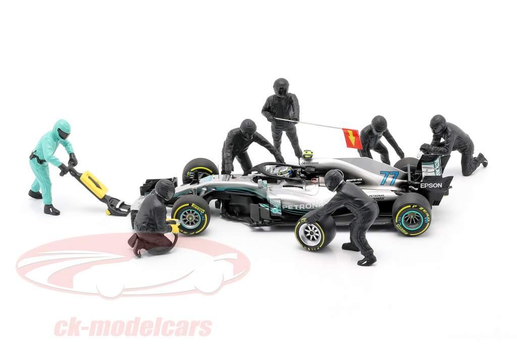 Formel 1 Pit Crew Figuren-Set #1 Team Schwarz 1:18 American Diorama