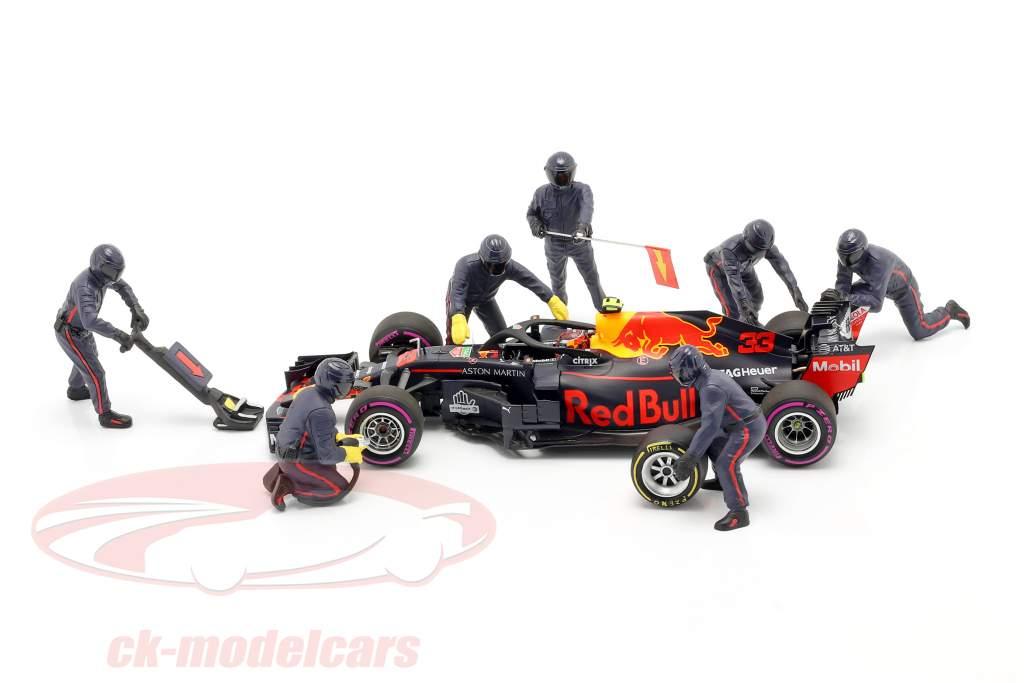 Formel 1 Pit Crew Figuren-Set #1 Team Blau 1:18 American Diorama
