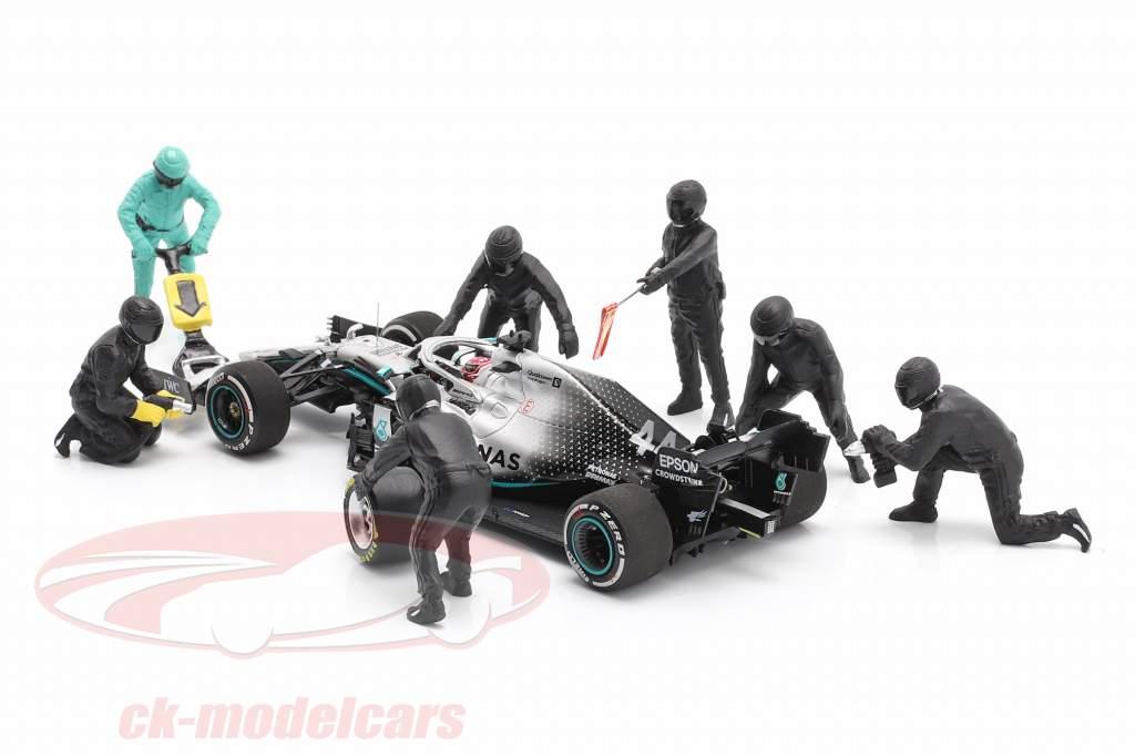 Formel 1 Pit Crew Figuren-Set #1 Team Schwarz 1:43 American Diorama