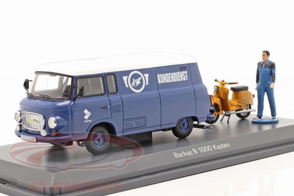 Barkas B 1000 Van Simson Kunde service blå / hvid 1:43 Schuco