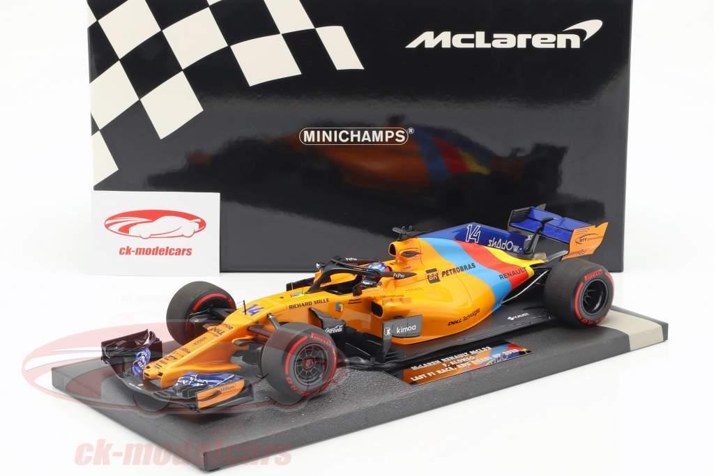 F. Alonso McLaren MCL33 #14 Almost Last F1 Race Abu Dhabi 2018 1:18 Minichamps