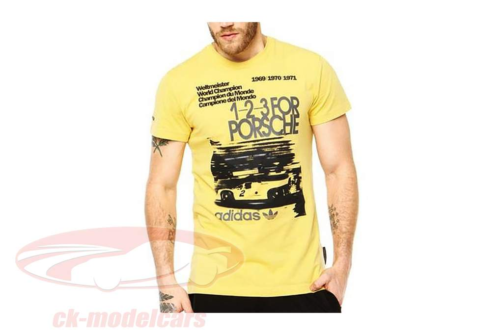 Porsche T-shirt 1-2-3 for Porsche World Champion 1969-1971 Adidas yellow