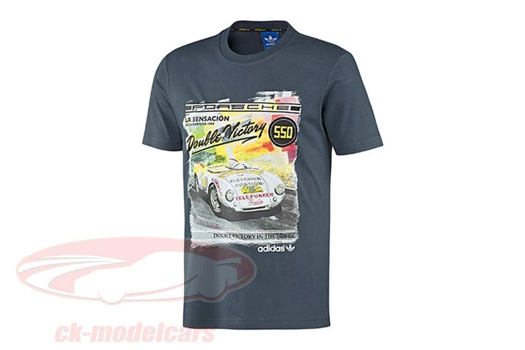 Porsche camiseta Porsche 550 Doble Victoria 1954 Adidas gris azulado