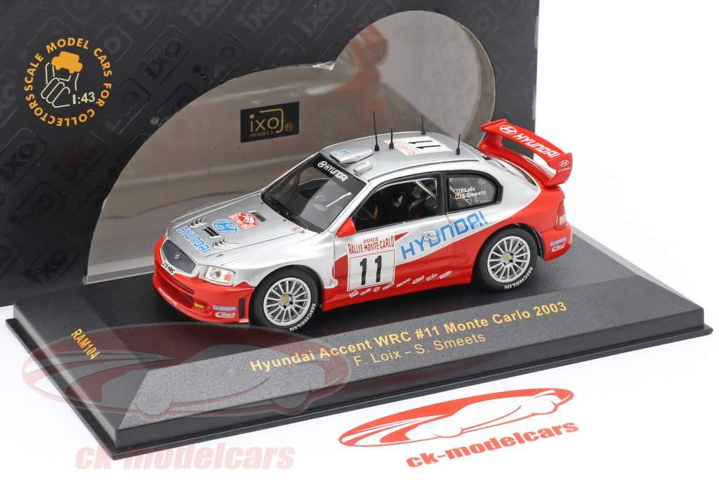 Hyundai Accent WRC #11 se rallier Monte Carlo 2003 Loix, Smeets 1:43 Ixo