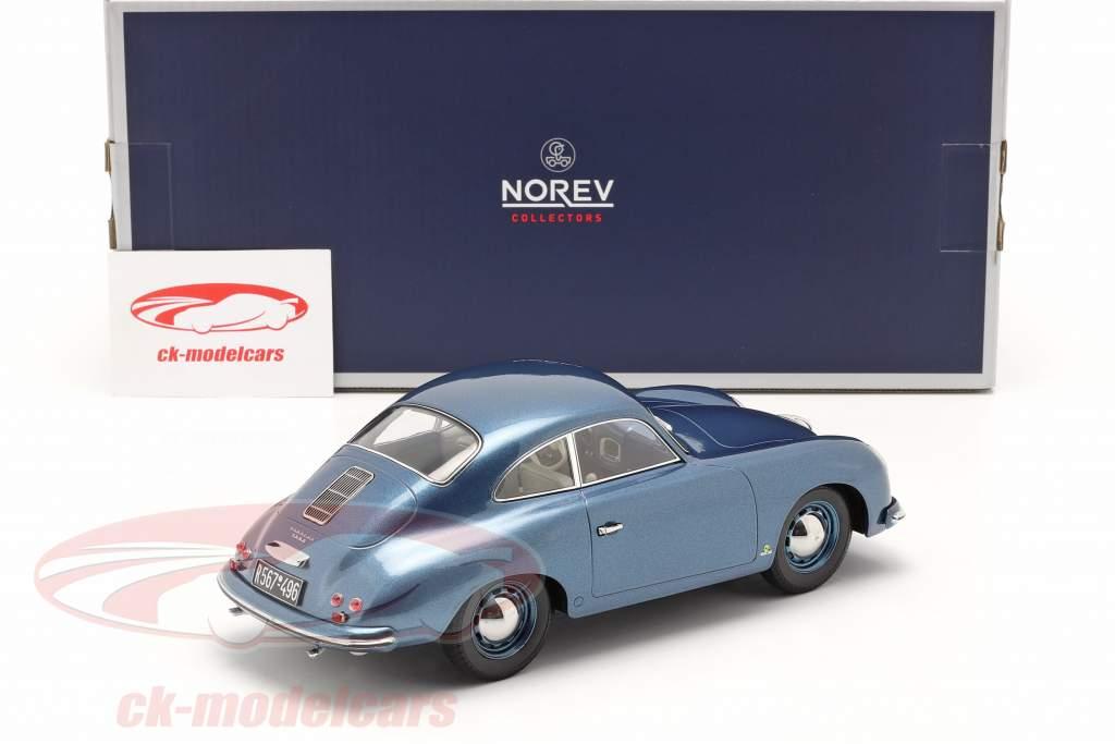Porsche 356 Coupe Byggeår 1952 blå metallisk 1:18 Norev