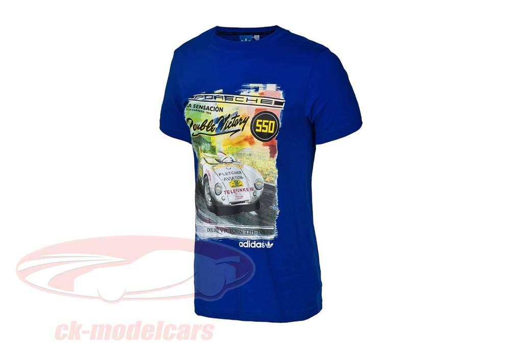 Porsche T-shirt Porsche 550 Double Victory 1954 Adidas blue