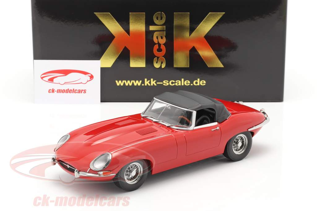 Jaguar E-Type Cabriolet Closed Top Series 1 LHD 1961 rouge 1:18 KK-Scale