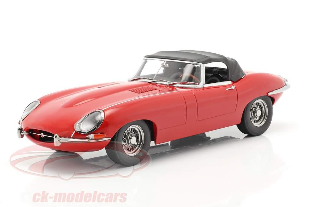 Jaguar E-Type Cabriolet Closed Top Series 1 LHD 1961 rød 1:18 KK-Scale