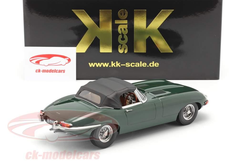 Jaguar E-Type Cabriolet Closed Top Series 1 RHD 1961 mørkegrøn 1:18 KK-Scale
