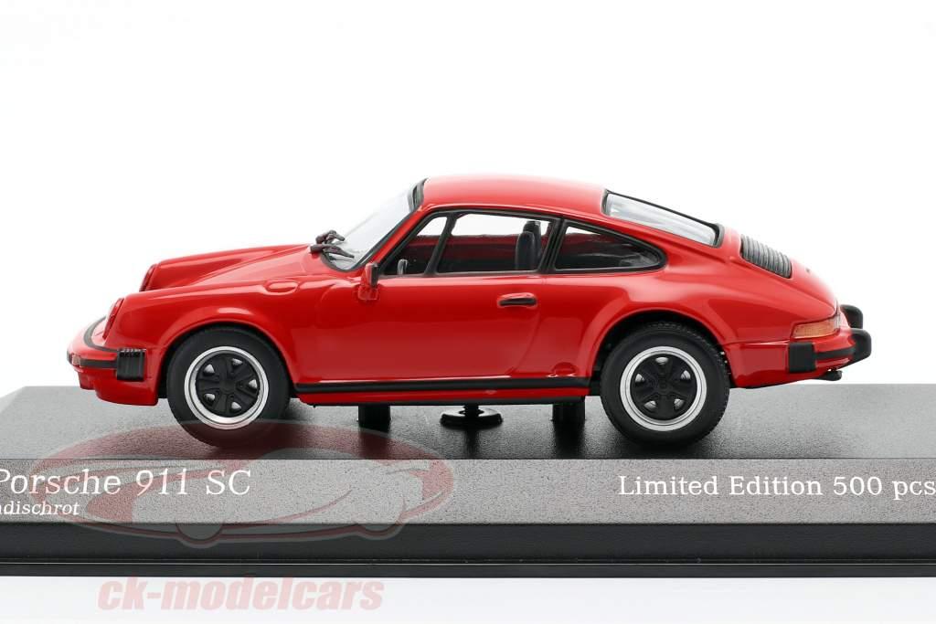 Porsche 911 SC Coupe Byggeår 1979 rød 1:43 Minichamps