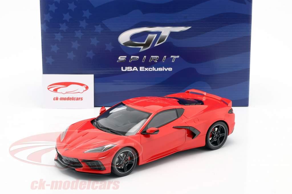 Chevrolet Corvette C8 Bouwjaar 2020 fakkel rood 1:18 GT-Spirit
