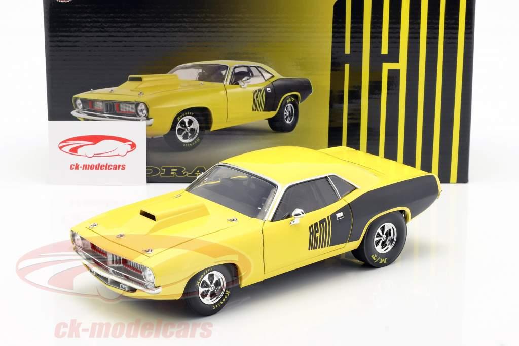 Plymouth Cuda Drag Car Construction year 1972 yellow / black 1:18 GMP