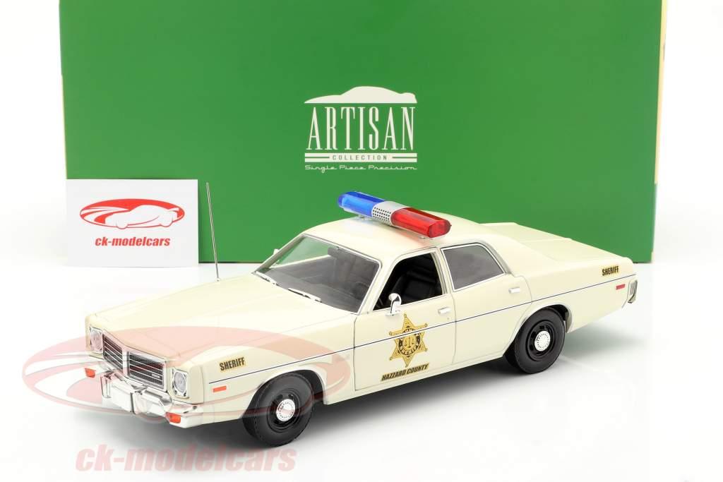 Dodge Coronet Hazzard County Sheriff Byggeår 1975 hvid 1:18 Greenlight