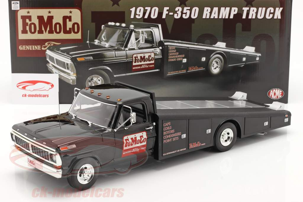 Gmp 1 18 Ford F 350 Ramp Truck Fomoco Year 1970 Black A1801408 Model Car A1801408
