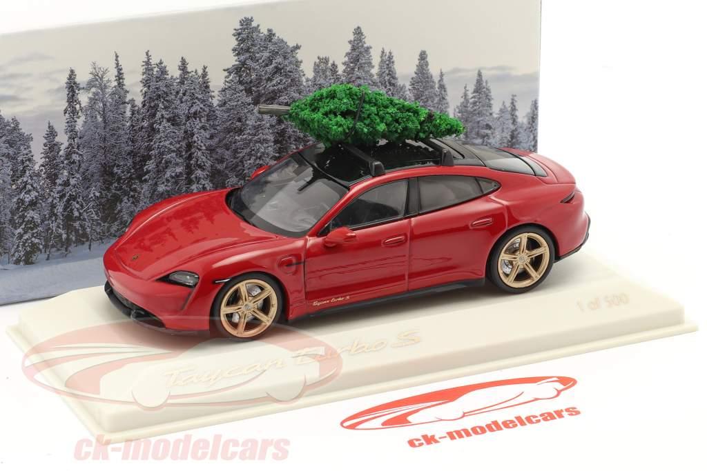 Porsche Taycan Turbo S carmin rouge Avec Sapin de Noël 1:43 Minichamps