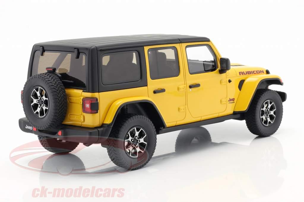Jeep Wrangler Rubicon Hellayella Bouwjaar 2019 geel / zwart 1:18 GT-Spirit