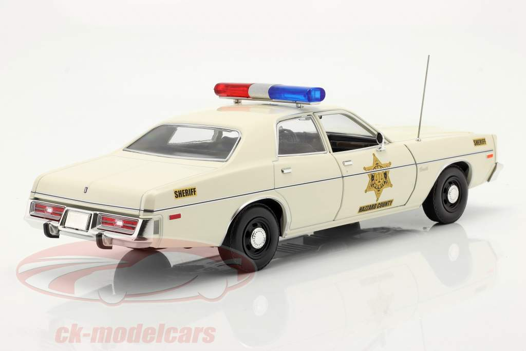 Dodge Coronet Hazzard County Sheriff year 1975 white 1:18 Greenlight