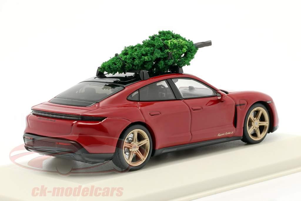 Porsche Taycan Turbo S karmijn rood Met kerstboom 1:43 Minichamps