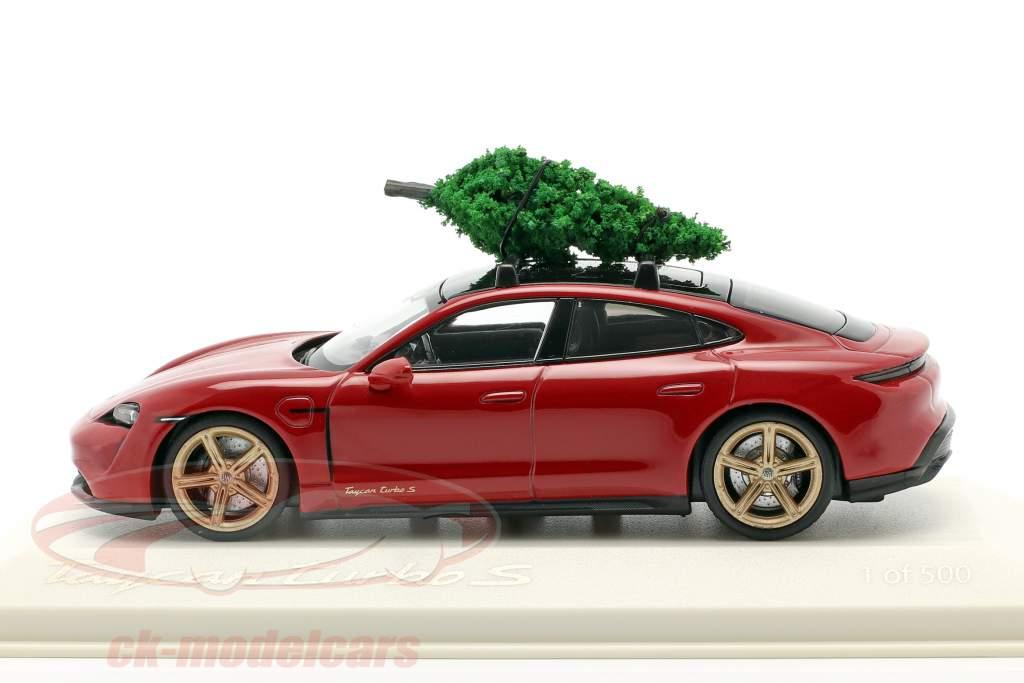 Porsche Taycan Turbo S carmín rojo Con árbol de Navidad 1:43 Minichamps