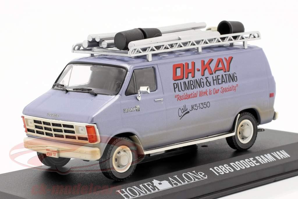 Dodge Ram Van 1986 Movie Home Alone (1990) silver blue 1:43 Greenlight