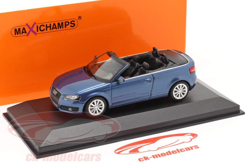 Audi A3 Cabriolet Anno di costruzione 2007 blu metallico 1:43 Minichamps