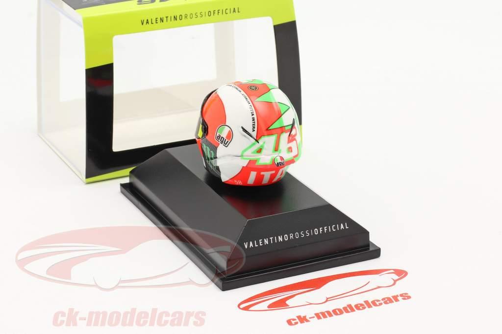 Valentino Rossi 3. MotoGP Mugello 2018 AGV hjelm 1:8 Minichamps
