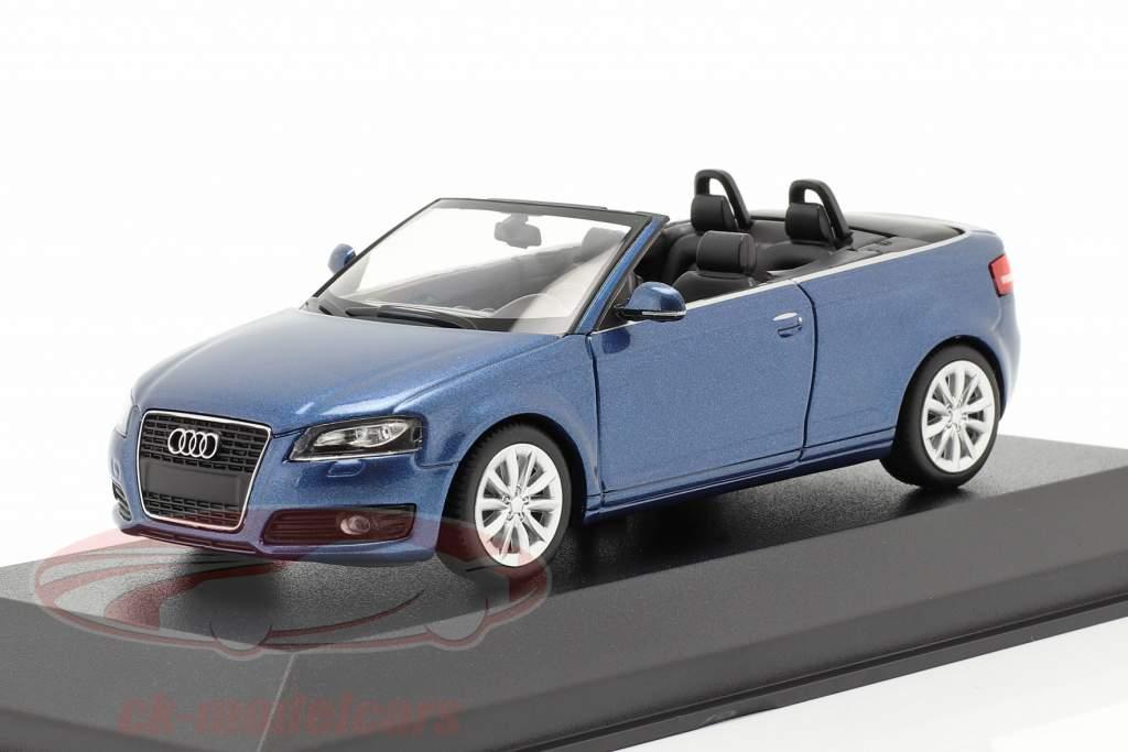 Audi A3 Cabriolet Ano de construção 2007 azul metálico 1:43 Minichamps