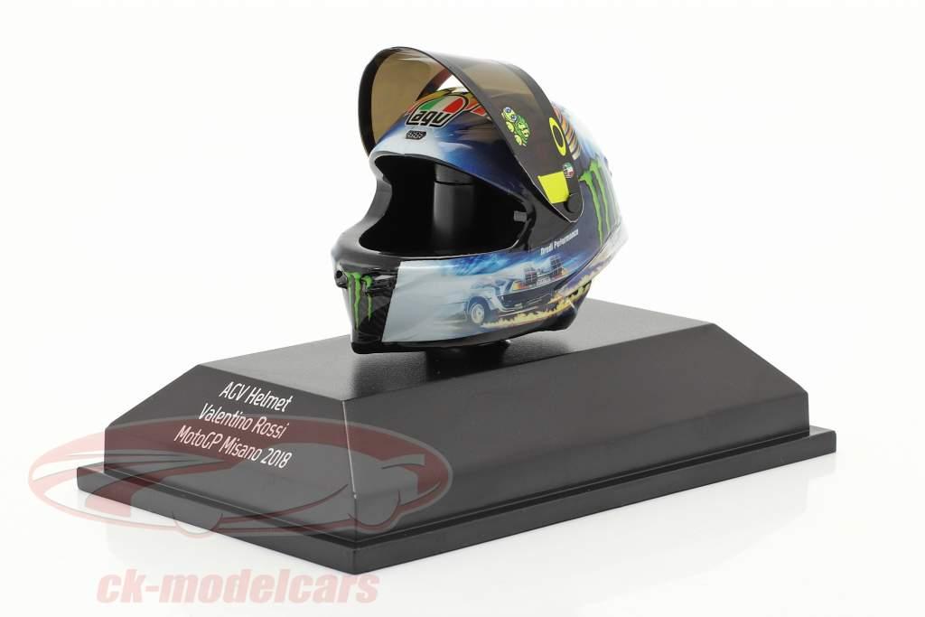 Valentino Rossi MotoGP Misano 2018 AGV helm 1:8 Minichamps