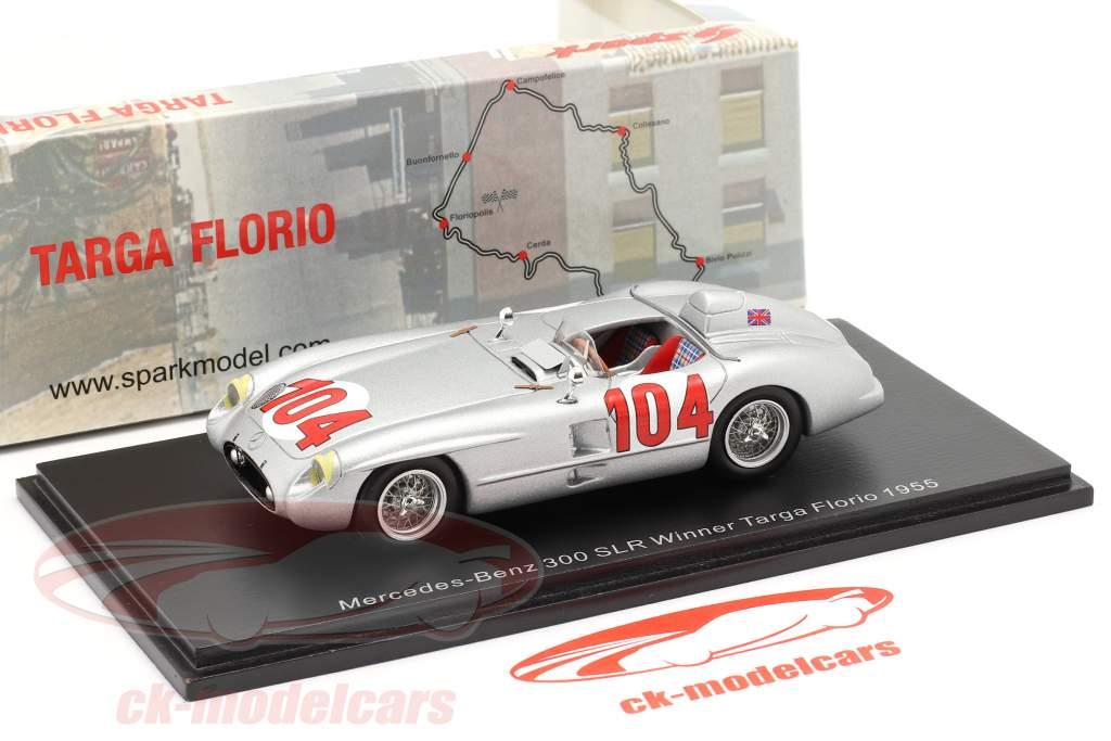 Mercedes-Benz 300 SLR #104 gagnant Targa Florio 1955 Moss, Collins 1:43 Spark