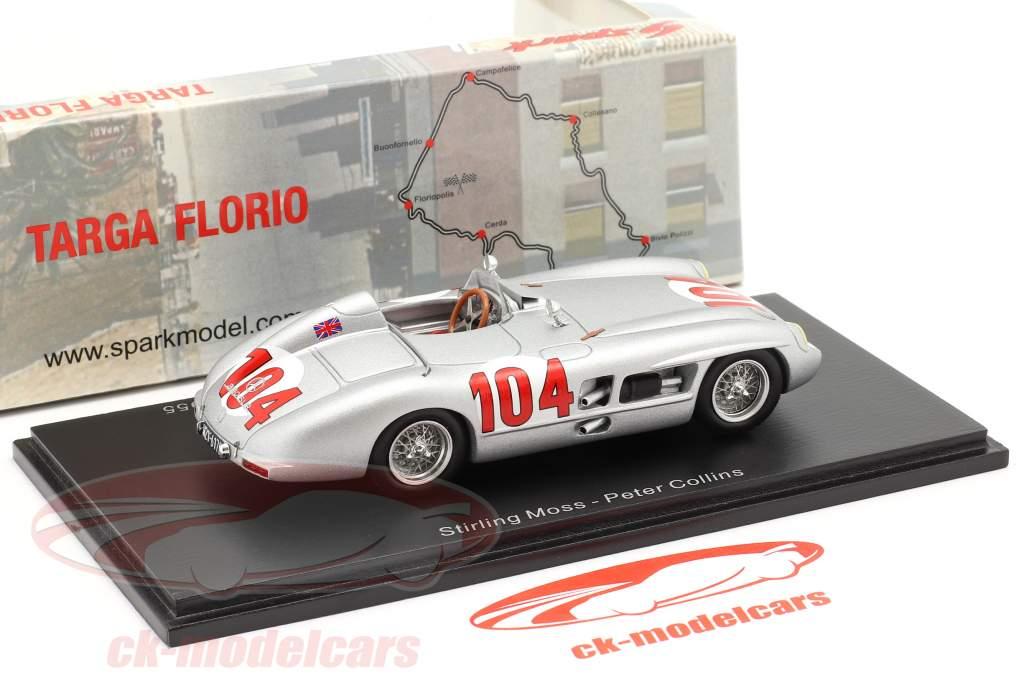 Mercedes-Benz 300 SLR #104 vencedora Targa Florio 1955 Moss, Collins 1:43 Spark