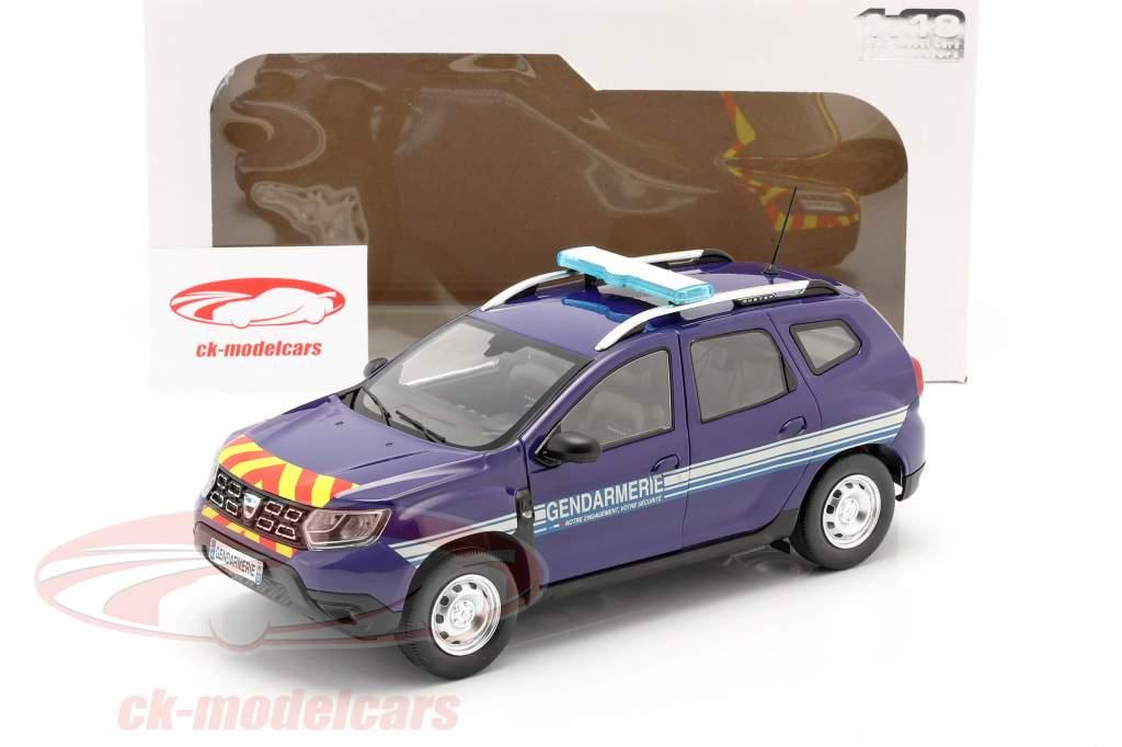 Dacia Duster MK2 Gendarmerie Bouwjaar 2018 blauw 1:18 Solido