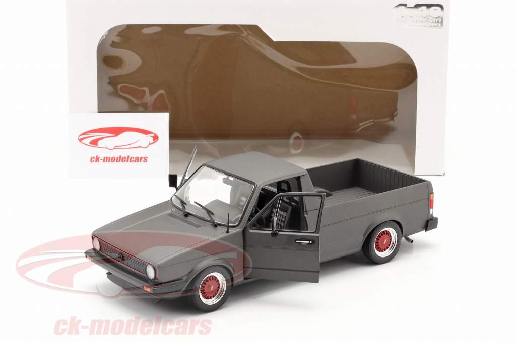 Volkswagen VW Caddy MK1 Custom II Byggeår 1982 måtte mørkegrå 1:18 Solido