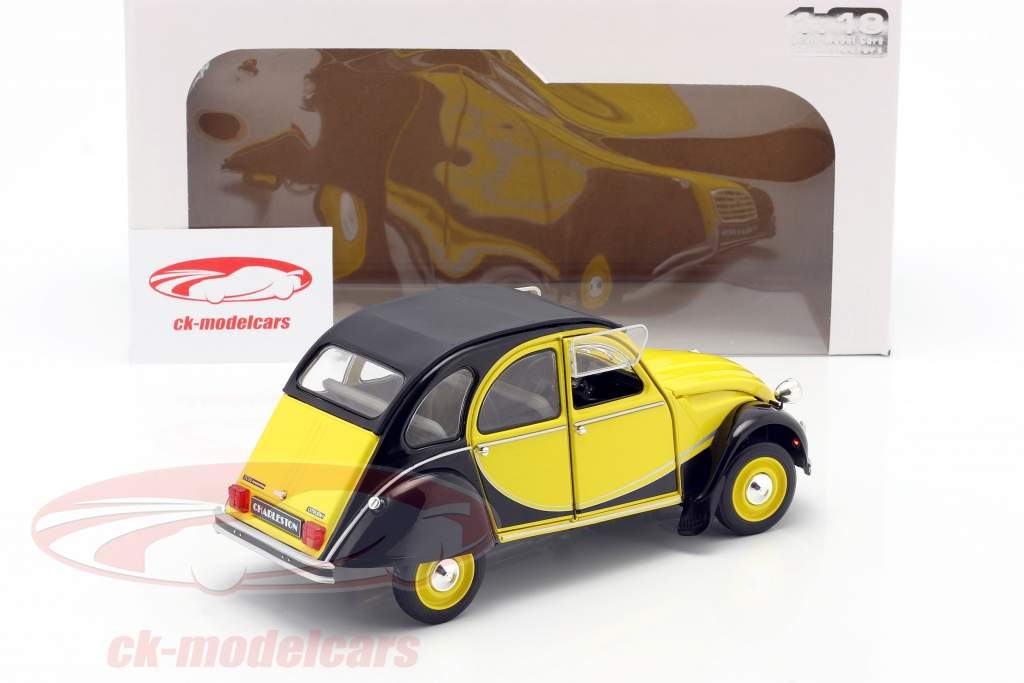 Citroen 2CV6 Charleston Byggeår 1982 gul / sort 1:18 Solido
