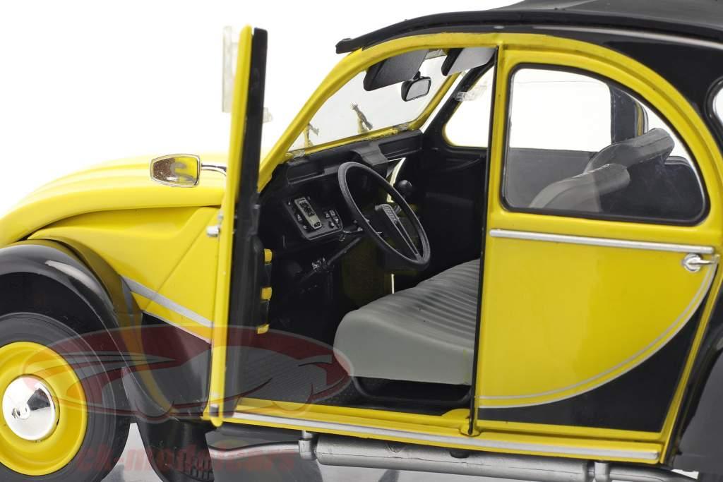 Citroen 2CV6 Charleston Bouwjaar 1982 geel / zwart 1:18 Solido